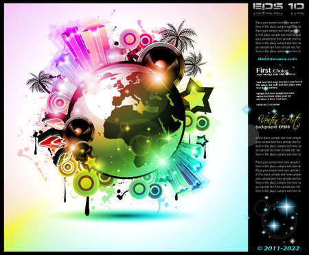Music Club background for disco international event with a lot of design elements  Ideal for posters, flyers and advertising panels Vector