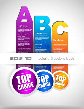 Paper style labels with 3 choices  Ideal for web usage, depliant for product comparison or infographics or business presentation Stock Vector - 14047510