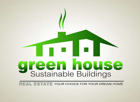 Green Eco sustainable  house icon to use for real estate flyers or posters. Vector