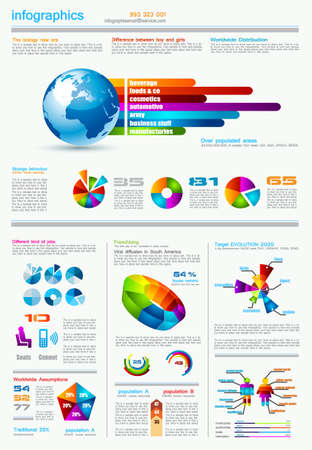 infomation: Infographics page with a lot of design elements like chart, globe, icons, graphics, maps, cakes, human shapes and so on. Ideal for business analisys rapresentation.