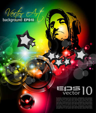 Music Club background for disco flyer with attractive rainbow colours, ideal for club event posters! Vector