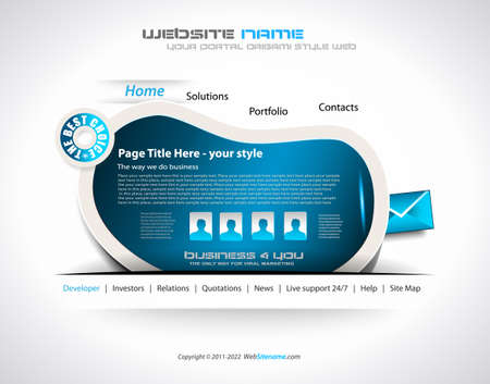 webtemplate: Modern web templave with paper style background and transparent shadows. Ideal for business website with a lot of design elemenets. Illustration