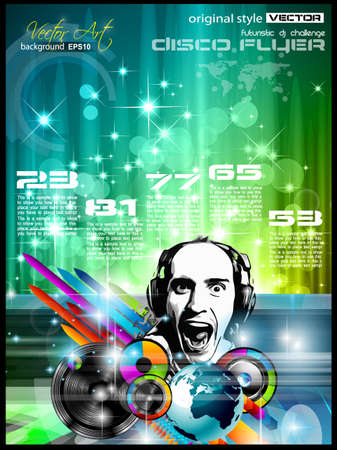 music dj: Music Club background for disco flyer with attractive rainbow colours, ideal for club posters Illustration