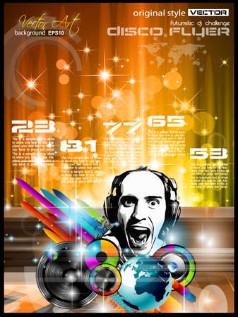 disk jockey: Music Club background for disco flyer with attractive rainbow colours, ideal for club posters Illustration