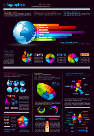 Dark Infographics page with a lot of design elements like chart, globe, icons, graphics, maps, cakes, human shapes and so on  Ideal for business analisys rapresentation  Vector