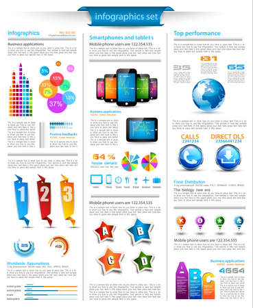 visualization: Infographics page with a lot of design elements like chart, globe, icons, graphics, maps, cakes, human shapes and so on  Ideal for business analisys rapresentation