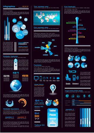 classement: Page Dark Infographies avec beaucoup d'�l�ments de conception tels que graphique, monde, ic�nes, affaires analisys graphiques, des cartes, des g�teaux, des formes humaines et ainsi de suite Id�al pour rapresentation