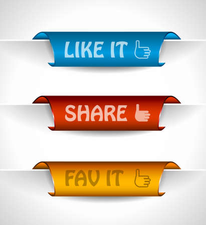 rectangle button: 3 paper stickers tag for sharing options with high contrast colours, real paper effect and transparent shadows