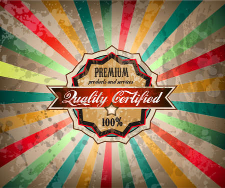 Quality vintage label for premium product with old fashined and distressed style   Vector