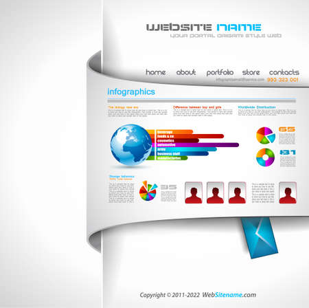 www concept: Modern web templave with paper style background and transparent shadows  Ideal for business website with a lot of infographic charts elemenets