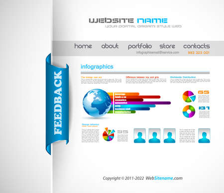webtemplate: Modern web templave with paper style background and transparent shadows  Ideal for business website with a lot of infographic charts elemenets