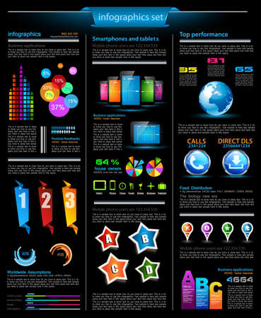 Infographics page with a lot of design elements like chart, globe, icons, graphics, maps, cakes, human shapes and so on  Ideal for business analisys rapresentation  Vector