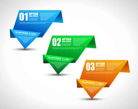 web layout: Option tag with origami paper style for infographics, brochure or business presentations  3 different colors