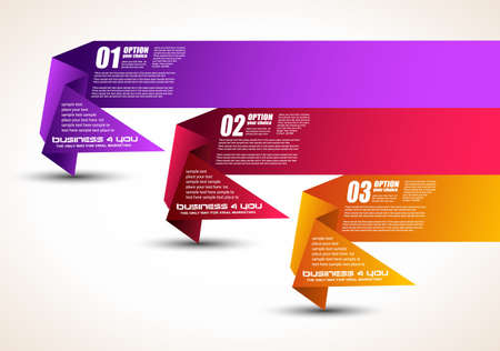 Option tag with origami paper style for infographics, brochure or business presentations  3 different colors  Vector