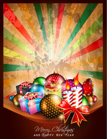 Merry Christmas vintage Background for Greetings Card, Posters or invitations flyer with gift boxes, baubles and candles. Stock Vector - 14536947