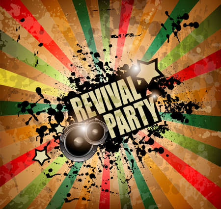 Club party flyer for music event and promotional posters. Retro vintage style with a lot of grunge elements. Vector