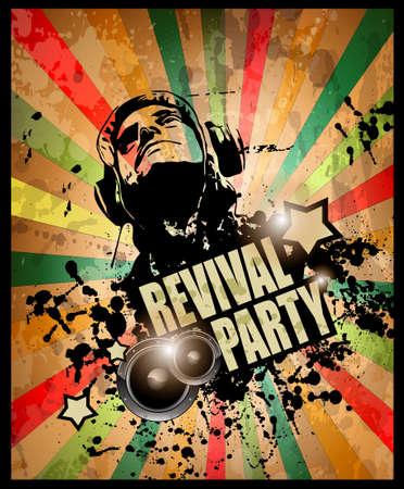 fiesta dj: Club de flyer de la fiesta para el evento de m�sica y carteles promocionales. Estilo retro vintage con una gran cantidad de elementos grunge.