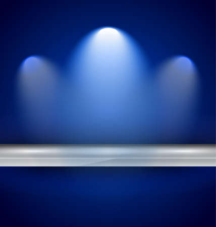 Shelf with spotlights to use for products advertisement and featured placements. Vector