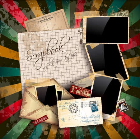 Vintage scrapbook composition with old style distressed postage design elements and antique photo frames plus some post stickers.  Stock Vector - 14536948