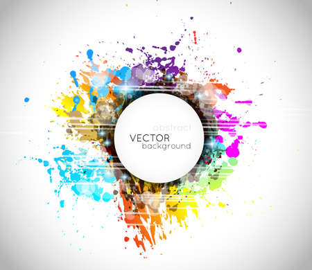 Colorful abstract background with rainbow colors and a white circular shape for your text Vector