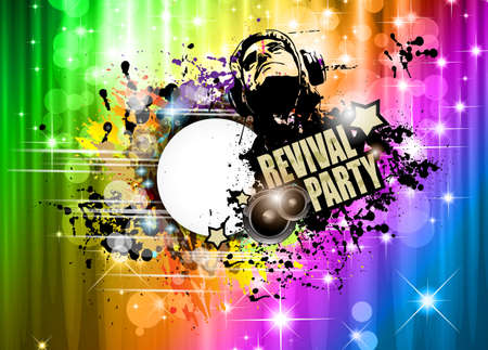 Disco club flyer with Disck Jockey shape and a lot of abstract colorful design elements. Ideal for poster and music background.