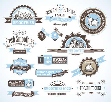 yaourt: Collection de qualit� sup�rieure de smoothies de fruits, de th� et d'�tiquettes yogourt glac� avec des styles diff�rents et de l'espace pour le texte. Illustration