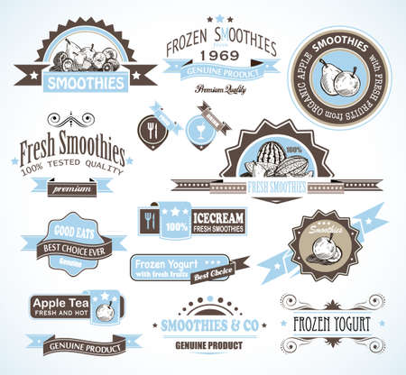 frozen fruit: Premium quality collection of Fruits Smoothies, Tea and frozen yogurt labels with different styles and space for text.
