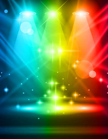 live entertainment: Magic Spotlights with Blue rays and glowing effect for people or product advertising. Every lights and shadows are transparent.