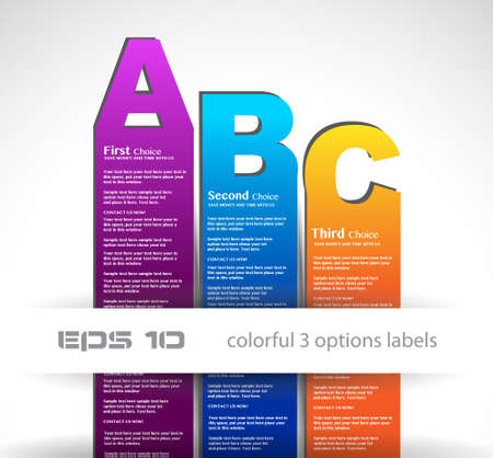 Paper style labels with 3 choices. Ideal for web usage, depliant for product comparison or infographics or business presentation. Stock Photo - 14719525