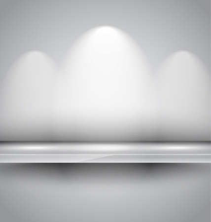 spot light: Shelf with spotlights to use for products advertisement and featured placements. Stock Photo