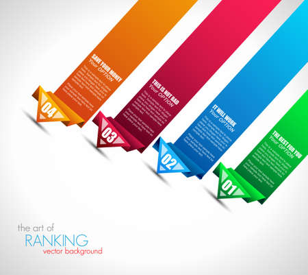 Origami style ranking paper. Ideal for info graphics, stylish graphs and histograms.