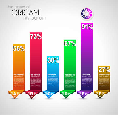 histogram: Origami style ranking paper. Ideal for info graphics, stylish graphs and histograms.