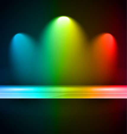 spotlight lamp: Mensola con faretti da utilizzare per la pubblicit� di prodotti e posizionamenti in vetrina. Vettoriali