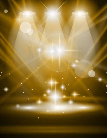 Focos de magia con los rayos azul y el efecto que brilla intensamente para las personas o publicidad del producto. Cada luces y las sombras son transparentes.