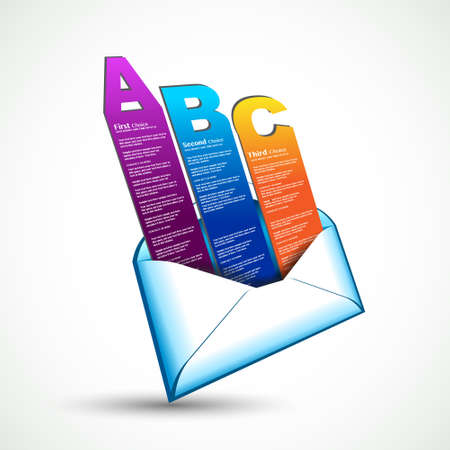 Paper style email with ranking elements with. Real origami effect to use for display 3 different options.  Vector