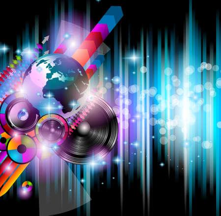 klubok: Disco club szórólap sok Absztrakt színes design elemek. Ideális posztert és zenei háttér.