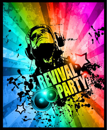 entertainment event: Disco club flyer with Disck Jockey shape and a lot of abstract colorful design elements. Ideal for poster and music background.