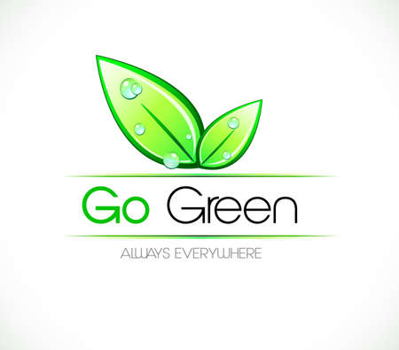 reuse: Ecology green background for eco friendly covers or brochures, with colorful leaves and water drops Illustration