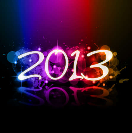 Colorful 2013 New Year Celebration Background with Glitter and Rainbow Colours Vector