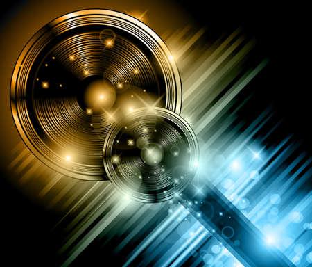 zsoké: Mágikus csillag világít Disco szórólap 2 hangszóró és a sok fényes csillag. Ideális Clud szórólapok vagy lemez jokey bemutató plakátok. Illusztráció