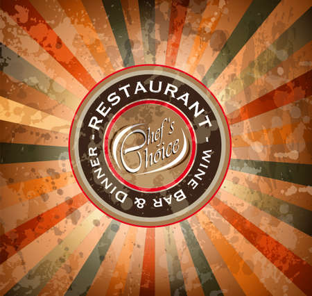 Premium quality Restaurant menù cover with editable vintage distressed background and space for text. Vector