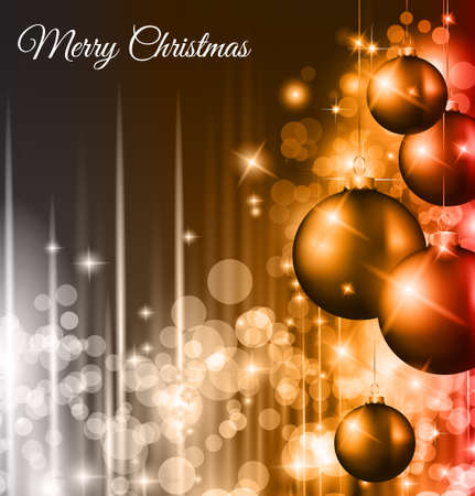 Christmas Background with a waterfall of ray lights with bright stars and a lot of Baubles with a gold rope. Vector