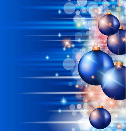 Christmas Background with a waterfall of ray lights with bright stars and a lot of Baubles with a gold rope. Stock Vector - 15150402