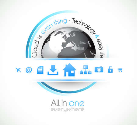 Cloud Computing conceptual image poster with a lot of themed icons like network, camera, home, downloads, files and so on. Ideal for technology abstract covers. Stock Vector - 15150495
