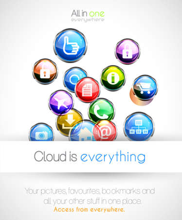 Cloud computin concept background with a lot of glossy sphere icons with feed, like, home, phone, locked,networking and so on! Stock Vector - 15150499