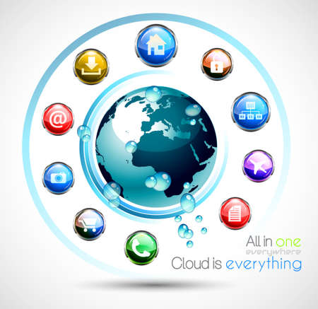 Cloud Computing conceptual image poster with a lot of themed icons like network, camera, home, downloads, files and so on. Ideal for technology abstract covers. Vector