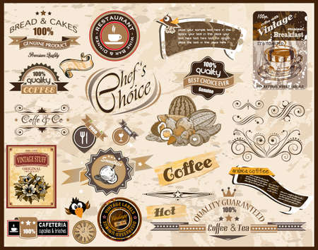 food label: Premium quality collection of Vintage Restaurant, Coffee and food & co labels with different styles and space for text. Illustration