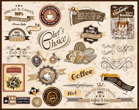 異なるスタイルとテキスト用のスペースを持つヴィンテージ レストラン、コーヒーおよび食品 & co ラベルのプレミアム品質のコレクションです。