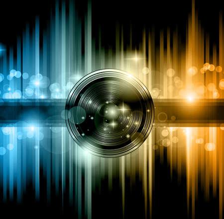Disco club flyer met veel abstracte kleurrijke design elementen. Ideaal voor poster en muziek achtergrond. Stock Illustratie