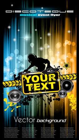 baile hip hop: Disco flyer club con una gran cantidad de elementos de diseño abstracto de colores. Ideal para carteles y música de fondo.